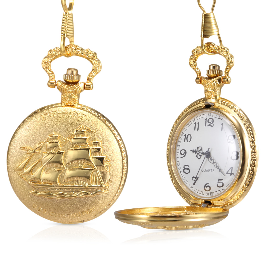 1pc Men Women Quartz Pocket Watch Golden Ship Pattern Carved Case With Chain LXH