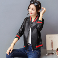 Hot High Quality Autumn Spring Cool Jacket Coat Women Fashion Baseball Uniform PU Bomber Jacket Black