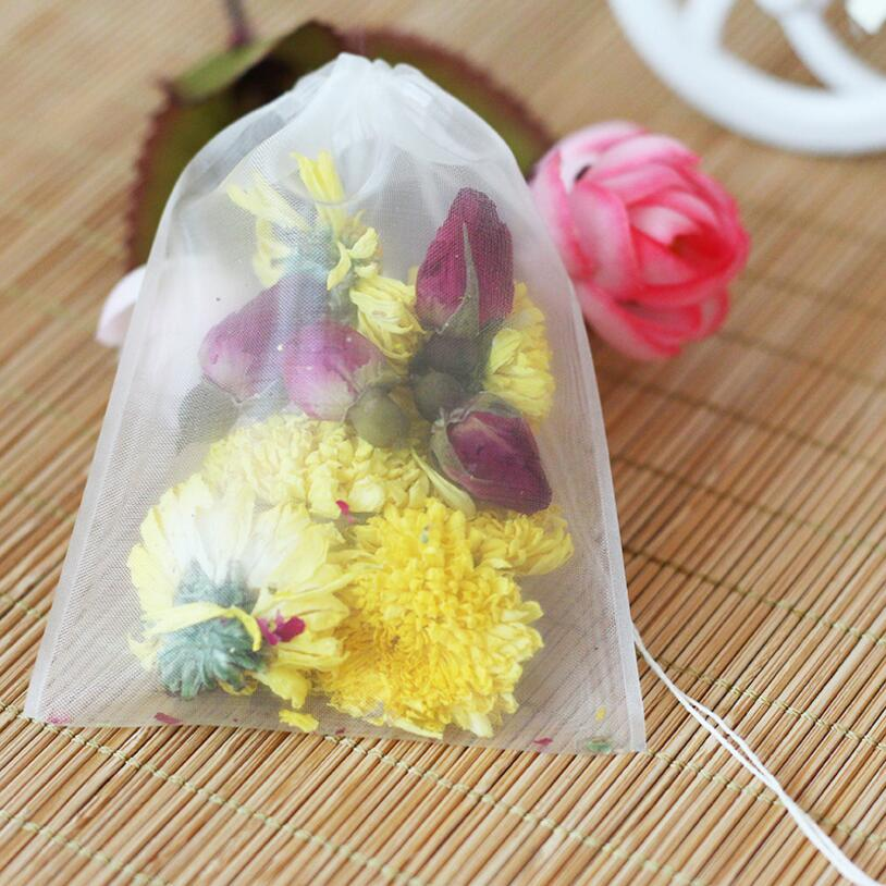 100pcs/lot Empty Tea Bag Nylon Material Teabags With String Heal Seal Filter Bag Paper For Herb Loose Tea 5sizes