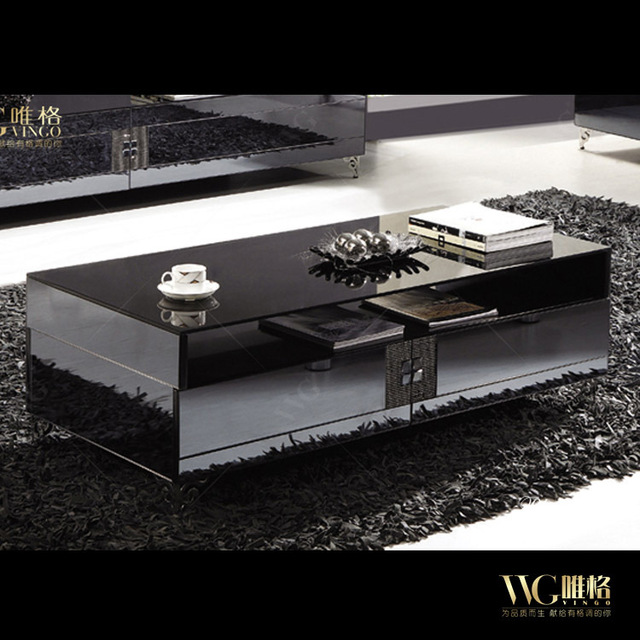Rhinestone Finishes Upscale Contemporary Style Living Room Coffee Table  Mirror Effect Glass Free Installation