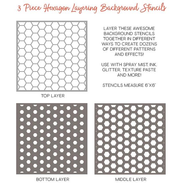 3pcs Set Hexagon Layering Background Stencils For Diy Sbooking Decorative Paper Cards Crafts Plastic Templates