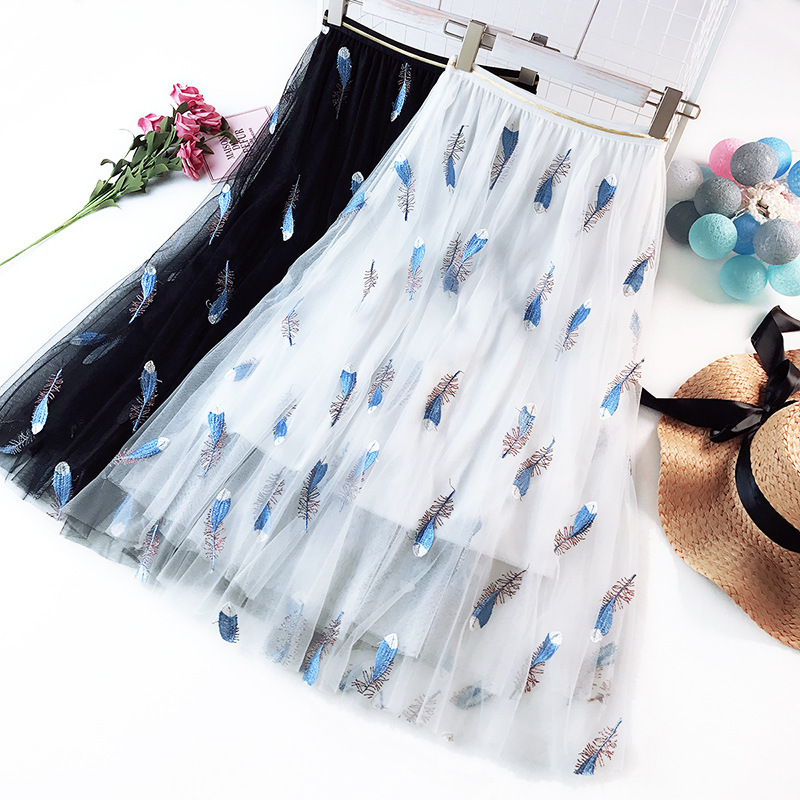 7066bc62399 Wasteheart White Pink Women Skirts High Waist Ball Gown Feather Embroidery Ankle  Length Skirt Chiffon Clothing