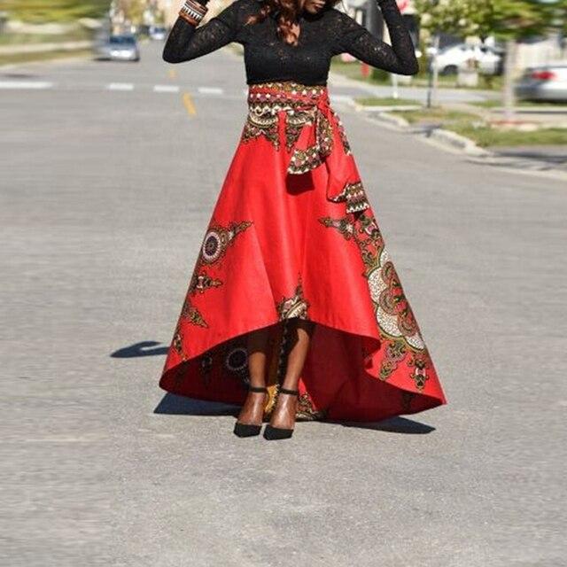 Faldas Verano Gráfico Hem Irregular Elegante Larga Maxi 2018 Impreso Midi Falda Fiesta Arco Floral Señora Uqtqnv