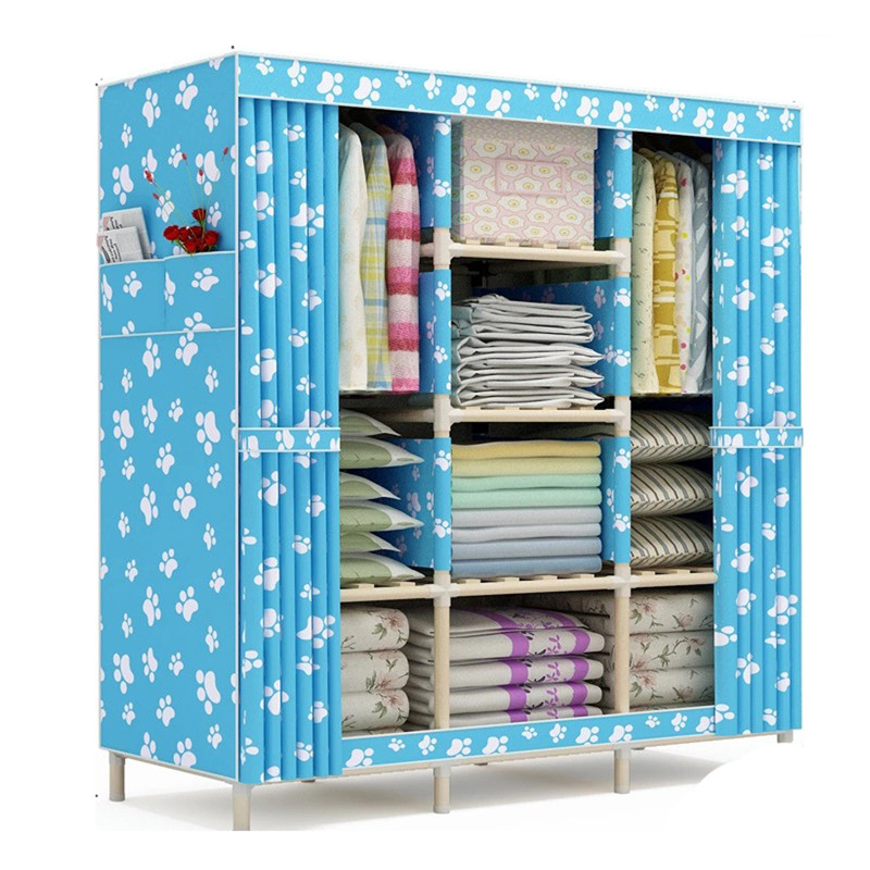 10KG  solid wood oxford cloth wardrobe Simple using foldable Curtain style canvas wardrobe  for kids Adults larege capacity simple fashion moistureproof sealing thick oxford fabric cloth wardrobe rustproof steel pipe closet 133d