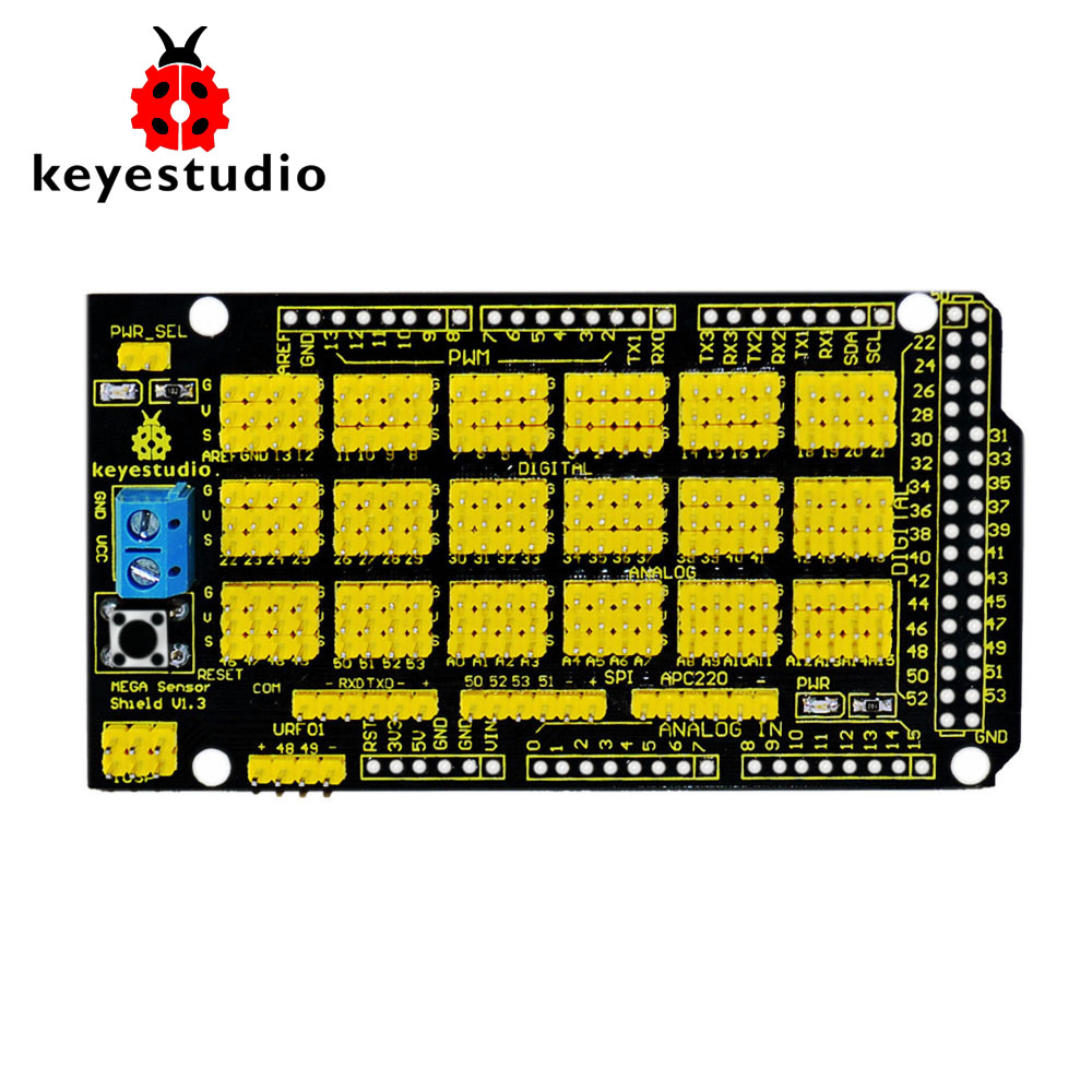 Free Shipping ! Keyestudio MEGA Sensor Shield V1 For Arduino MEGA