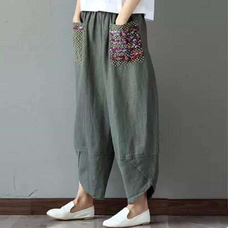 2017 Women Trousers Cotton Linen Loose Trousers Plus Size ...