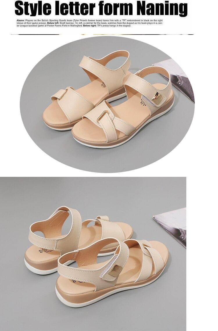 HTB1 LX4XELrK1Rjy1zbq6AenFXav Summer Women Sandals platform heel Leather hook loop metal Soft comfortable Wedge shoes ladies casual sandals V284