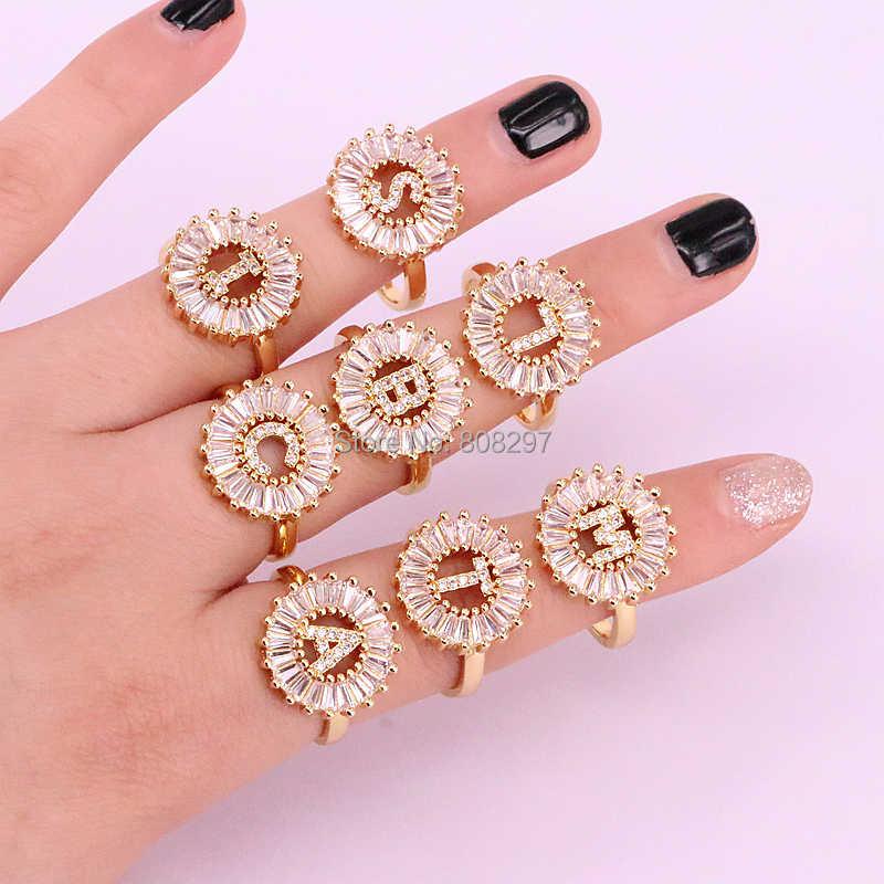 Новое поступление 8 шт. золотого цвета модные высококачественные микро проложить cz начальные Подвески с буквами кольца подарок для леди