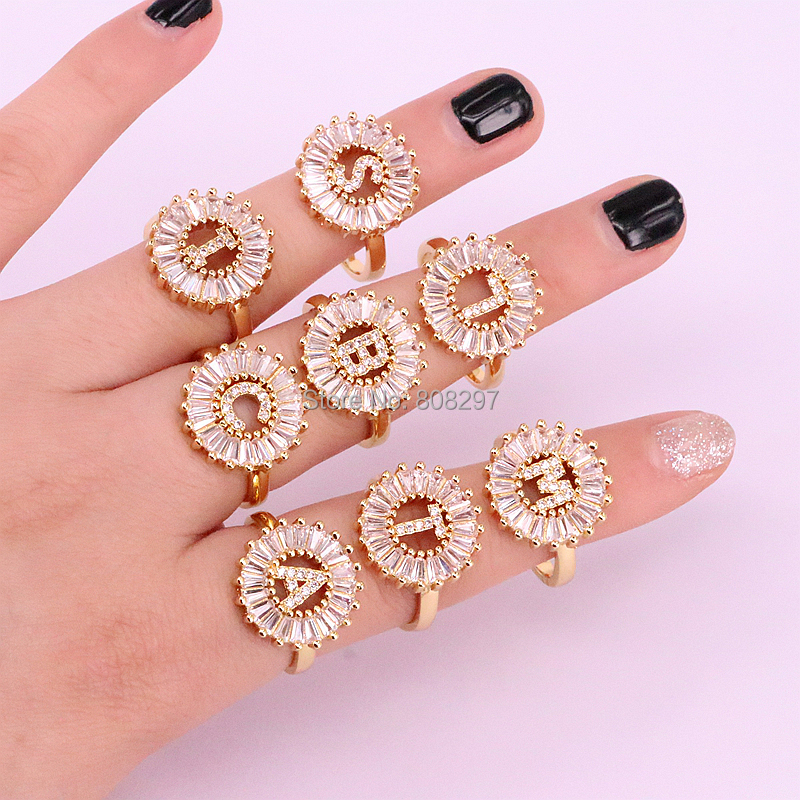 New Arrival 8Pcs Gold Color Fashion High quality micro pave cz Initial Letter charms rings gift for lady ...