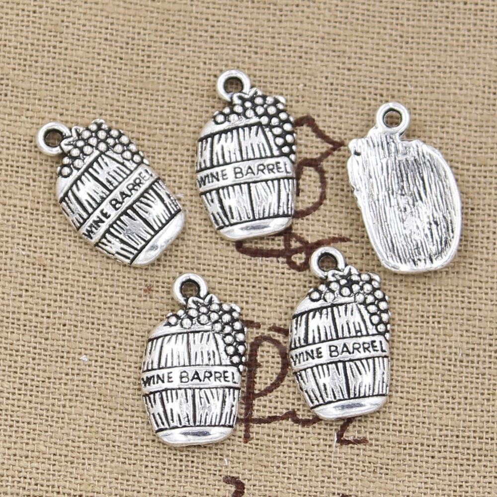 12pcs Charms Wine Barrel Cask 19x11mm Antique Making Pendant fit,Vintage Tibetan Silver color,DIY Handmade Jewelry(China)