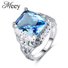 Best-selling 925 Sterling Silver Lady ring classic fashion sapphire engagement anniversary gift party package