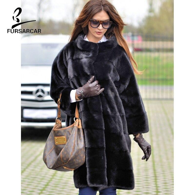 FURSARCAR 2019 New Black Real Natural Mink Fur Coat For Women Winter Warm Coats Luxury Genuine Fur Standard Collar Jacket Female