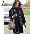 FURSARCAR 2019 Nieuwe Zwarte Echte Natuurlijke Nerts Bontjas Voor Vrouwen Winter Warme Jassen Luxe Echt Bont Standaard Kraag Jas vrouwelijke