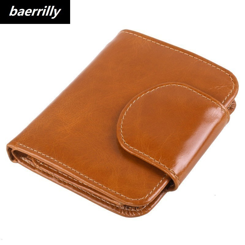 Brand Design Mini wallet Genuine Oil Wax Leather Women Short Wallets Coin Pocket Small Wallet Female Purse Money Clip Gift otherchic genuine leather women short wallets sheep skin small soft trifold wallet purse wallet female purses money clip 6n12 39