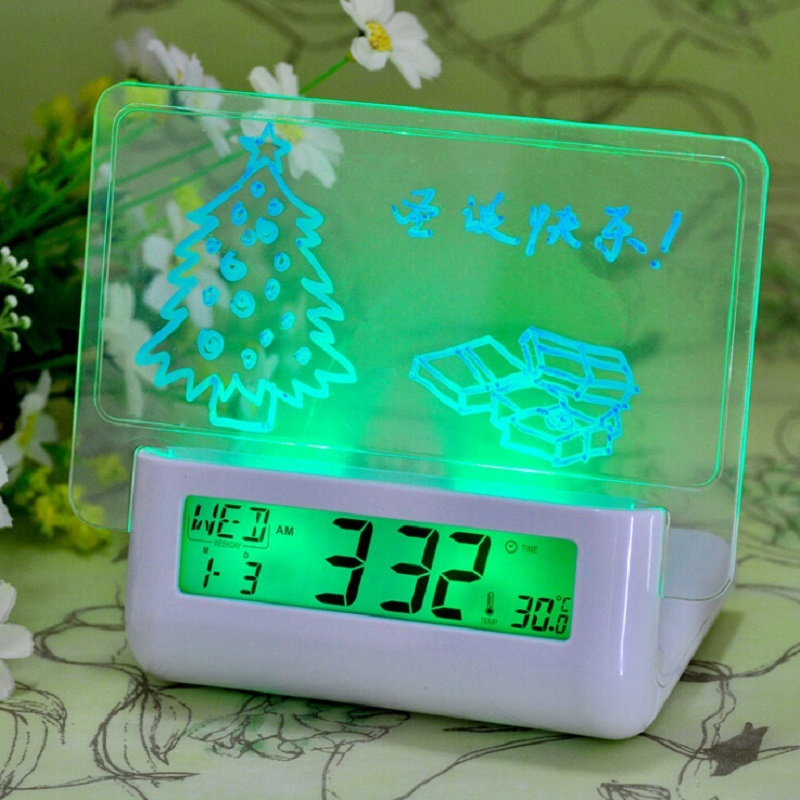 digital time alarming voice message board alarm clock acoustic control sensing LED backlight calendar temperature night lamp