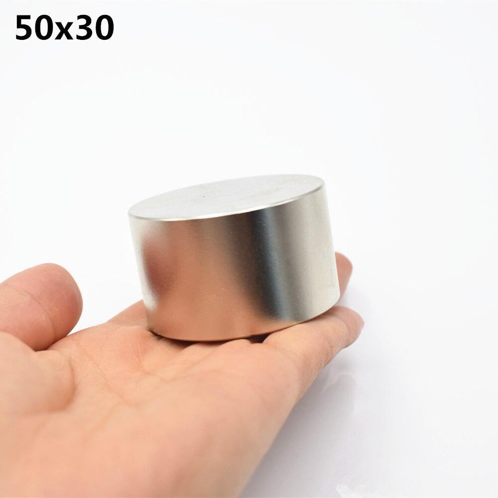 1 piezas neodimio 50x30mm super strong ronda de tierras raras NdFeb fuerte permanente magnético potente D50 * 30mm caliente nueva níquel