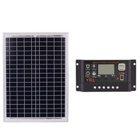 Black 18V 20W Solar Panels 40/50/60A 12V/24V Solar Controller With Usb Interface Battery Travel Power Supply Suitable for solar