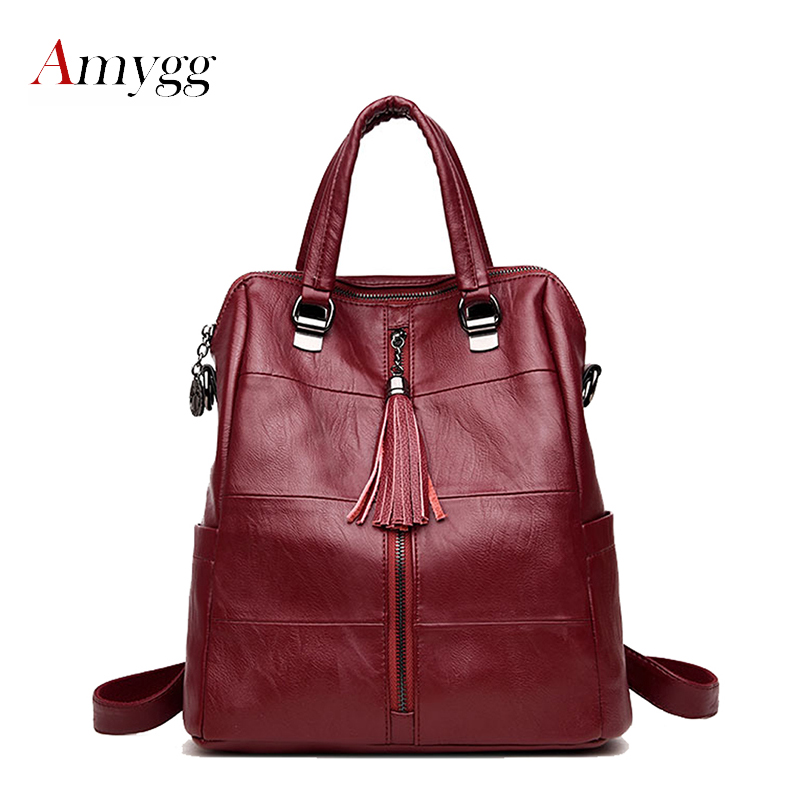 Tassel High Quality PU Leather Backpack Women Black Leather Backpack For School Teenagers Girls Woman Large Backpack Mochila Sac in Backpacks from Luggage Bags