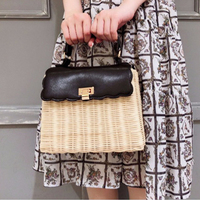 Japan New Style Fashionable Rattan Handbag For Women Handmade Knitting Bag Autumn Hot Sale Square Straw Handbags Bolsa Feminina