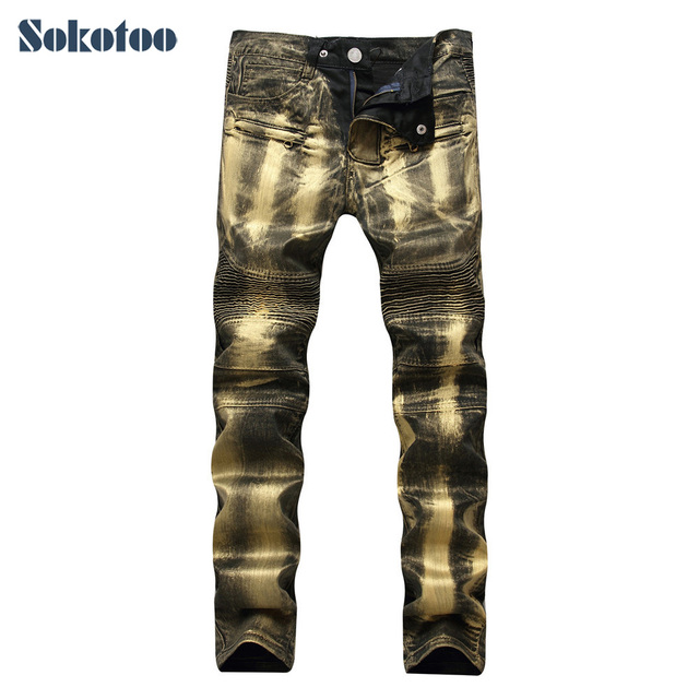 277a3cb36f0 Sokotoo Men s gold silver painted printed biker jeans Plus size slim  straight denim pants for motorcycle