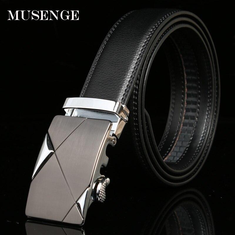 MUSENGE Diseñador Cinturones Hombres Cinturón de Cuero de Alta Calidad Para Hombre de Lujo Hebilla Automática Ceinture Homme Cinturones Hombre Cinto 2017