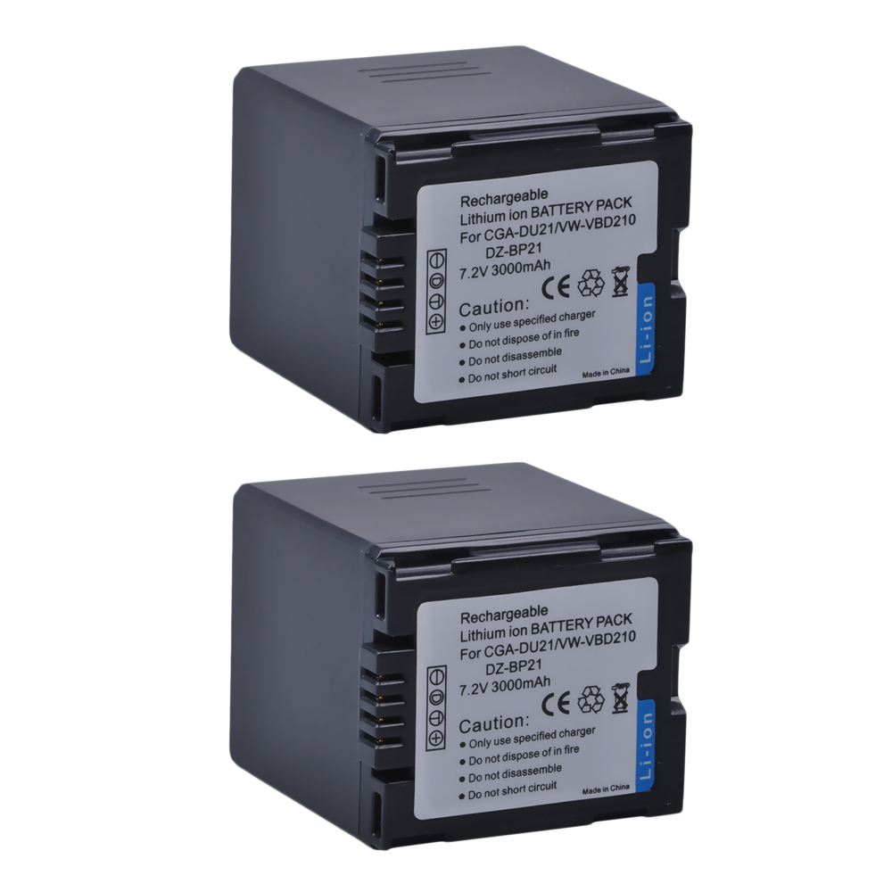 2Pcs High Capacity CGA-DU21 3000mAh CGA DU21 CGADU21 Camera Battery For Panasonic NV-GS330 GS400 GS408 GS500 GS508 MX500 PVGS90 hot 1pcs cga du21 cga du21 li ion camera battery charger car charger for panasonic cgr du06 cga du06 du12 cga du21 pv gs35