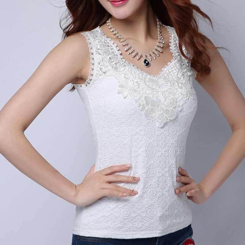 Plus Size Women Summer Sexy Blouse Shirt Elegant Sleeveless Vest V Neck White Crochet Lace Shirt Tank Tops