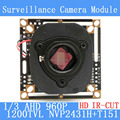1.3MP 1280 * 960 AHD 960P Camera Module Circuit Board 1/3 1200TVL CMOS NVP2431H+T151 PCB Board + HD IR-CUT dual-filter switch