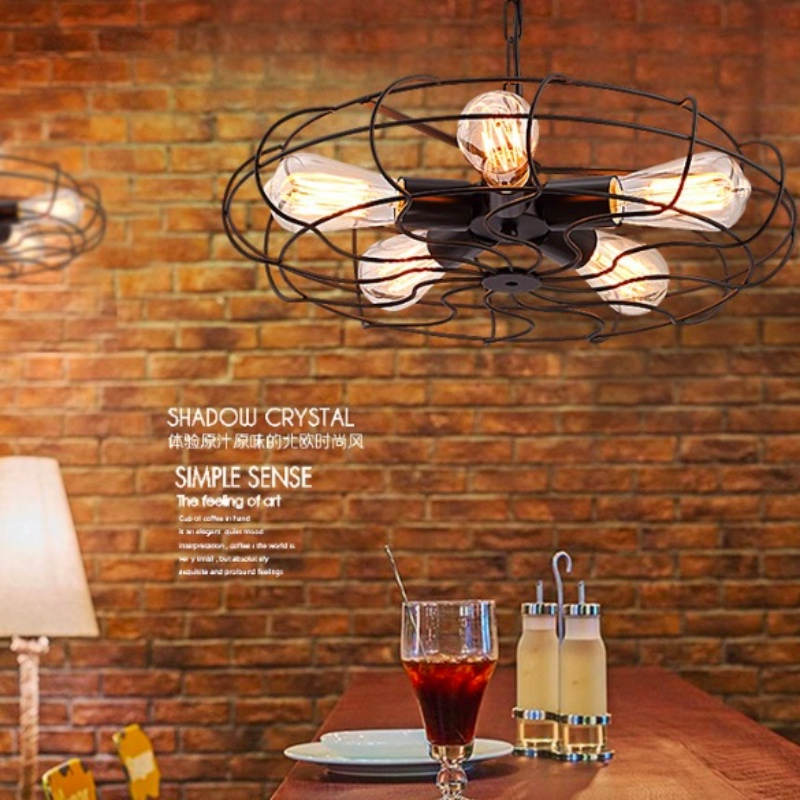 Vintage Industrial Black Iron Fan Design Led E27*5 Chain Pendant Light for Dining Room Restaurant Bar Decor Lamps - 4