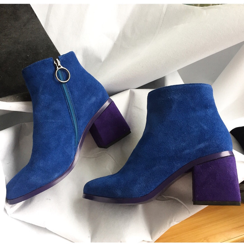 Thick Heels Shoes Woman Solid Ankle Boots Zippers Rome Sexy Ankle Botas Mujer Sexy Elegant Short Booties Suede Lady Shoes 40 купить в Москве 2019
