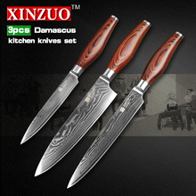 XINZUO 3 pcs kitchen knives set Damascus kitchen knife sharp Japanese chef cleaver knife fruit knife kitchen tool free shipping