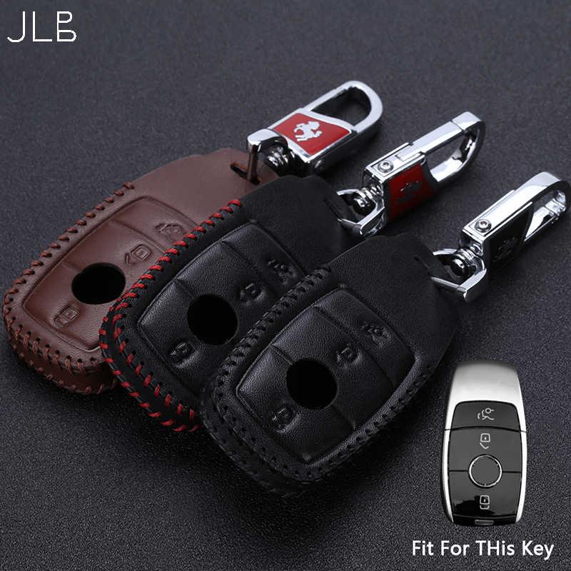 JLB Trường Hợp Chìa Khóa Xe cho Benz E Class W202 W203 W204 W212 W211 W124 E200 E300 GLA GLC Keychain cho mercede Benz Da Vỏ Key