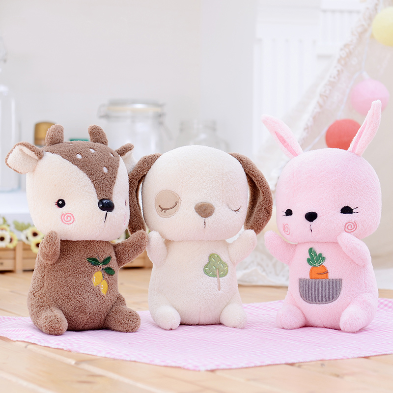 Plush Forest Cartoon Dog Rabbit Deer Toys Soft Cute Soft Stuffed Animal Dolls Best Birthday Gifts for Kids Friend Baby 8 hot sale cute dolls 60cm oblong animals pillow panda stuffed nanoparticle elephant plush toys rabbit cushion birthday gift