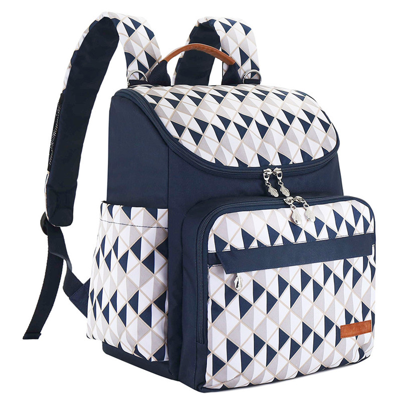 White&Blue Triangle Grid Flower Printed Square Vertical Section Mummy Diaper Bags Zipper Pocket Canvas Casual Backpack