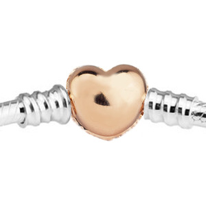 Image 3 - 100% 925 Sterling Silver Bracelets Bangles Rose Gold Pave Heart Clasp Bracelet for Women DIY Charms Jewelry pulseras Wholesale