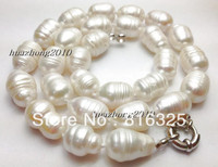 FREE SHIPPING 10 12mm The White Tahitian Cultured Pearl Necklace 18 YU01 AAA