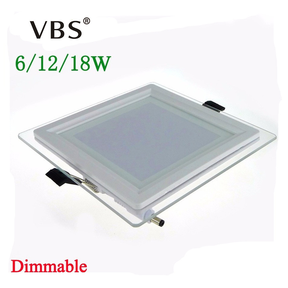 6w 12w 18w dimmable led panel light square glass led downlight led ceiling recessed lights episar - Square Recessed Lighting