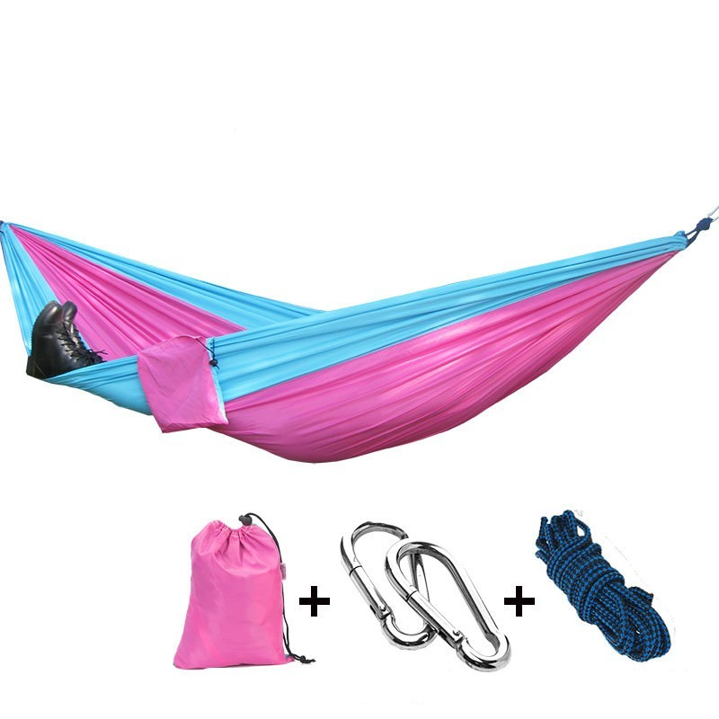 Portable Parachute Double Hammock Garden Outdoor Camping Travel Furniture Survival Hammocks Swing Sleeping Bed For 2 Person sgodde assorted color hanging sleeping bed parachute nylon fabric outdoor camping hammocks double person portable hammock