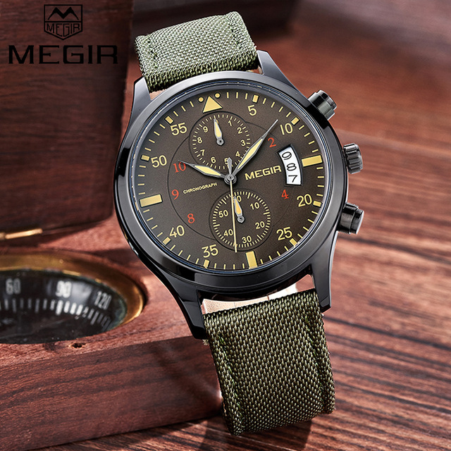 2016 NEW MEGIR Nylon Strap Luxury Men Watches Chronograph 6 Hands 24 Hours Fashion Casual Sports Watches relogio masculino