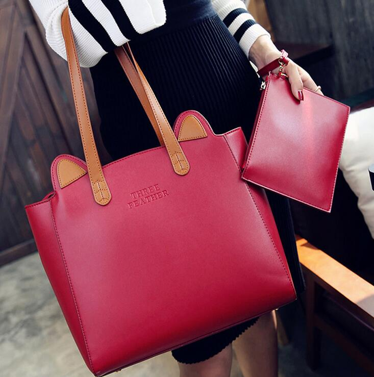 5dcba35a2e THREE FEATHER Stylish Casual Woman Female Handbag Big Purse Cat Ear Famous  Designer Brand Bags Women s Leather Handbags Bag S004-in Crossbody Bags  from ...