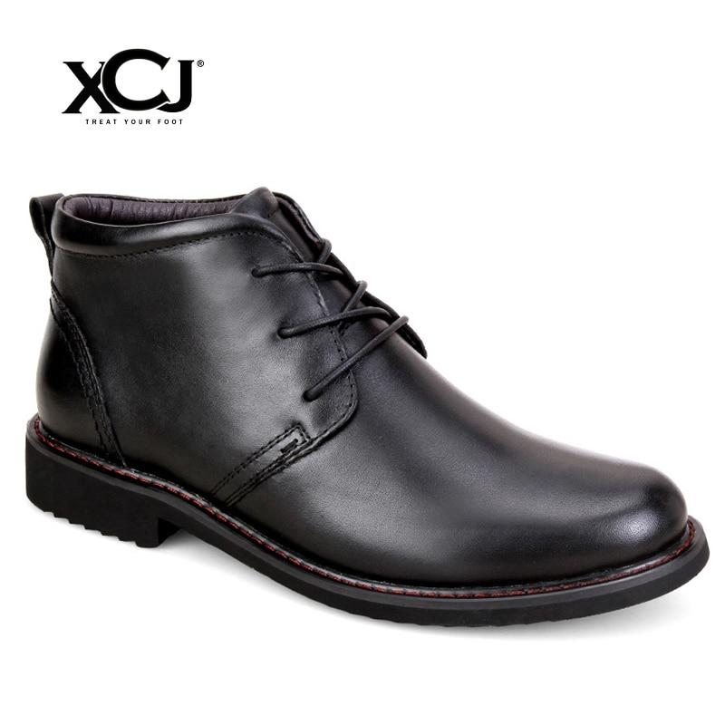 Genuine Leather Men Shoes Brand Winter Boots For Men Flats Winter Shoes Casual Shoes Warm Plush Spring Autumn Plus Big Size XCJ mulinsen latest lifestyle 2017 autumn winter men