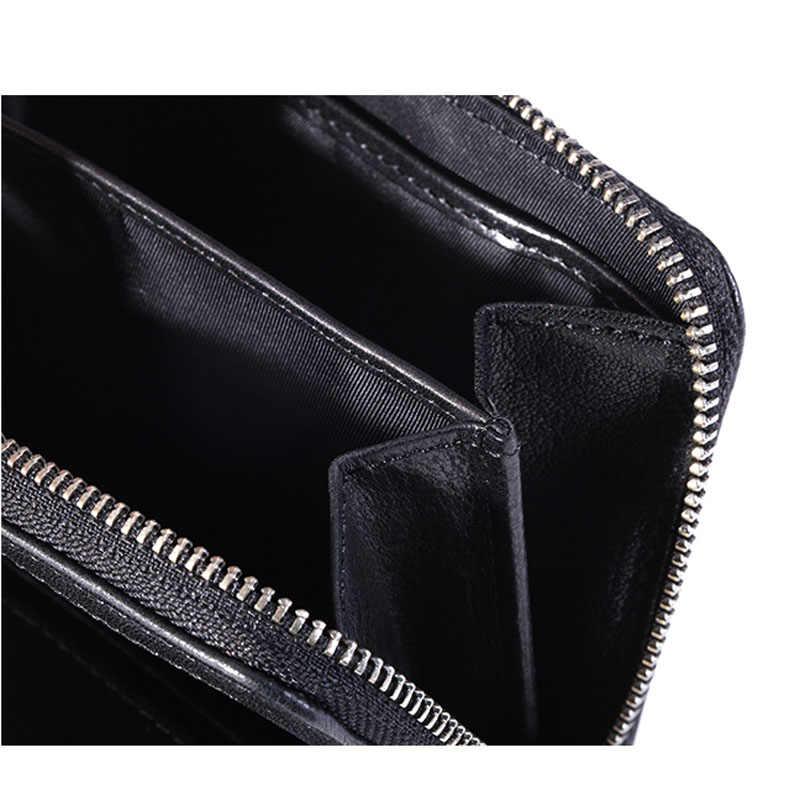 Aetoo Retro Kulit Pendek Dompet Pria Multi Fungsi Lipat Dompet Wanita Kulit Kecil Dompet Zipper Bag Bisa koin