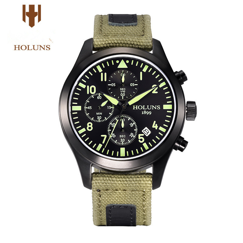 HOLUNS luxury Men Watch multifunctional sports chronograph watch luminous military waterproof watches braun chronograph sports watch