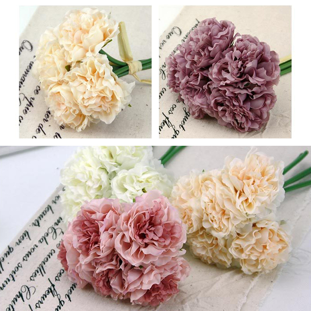 Hot Selling 5pcs/bunch Artificial Peony Silk Flower Leaf Bouquet Bridesmaid Bouquet Home Party Decor Wedding Garden Decoration
