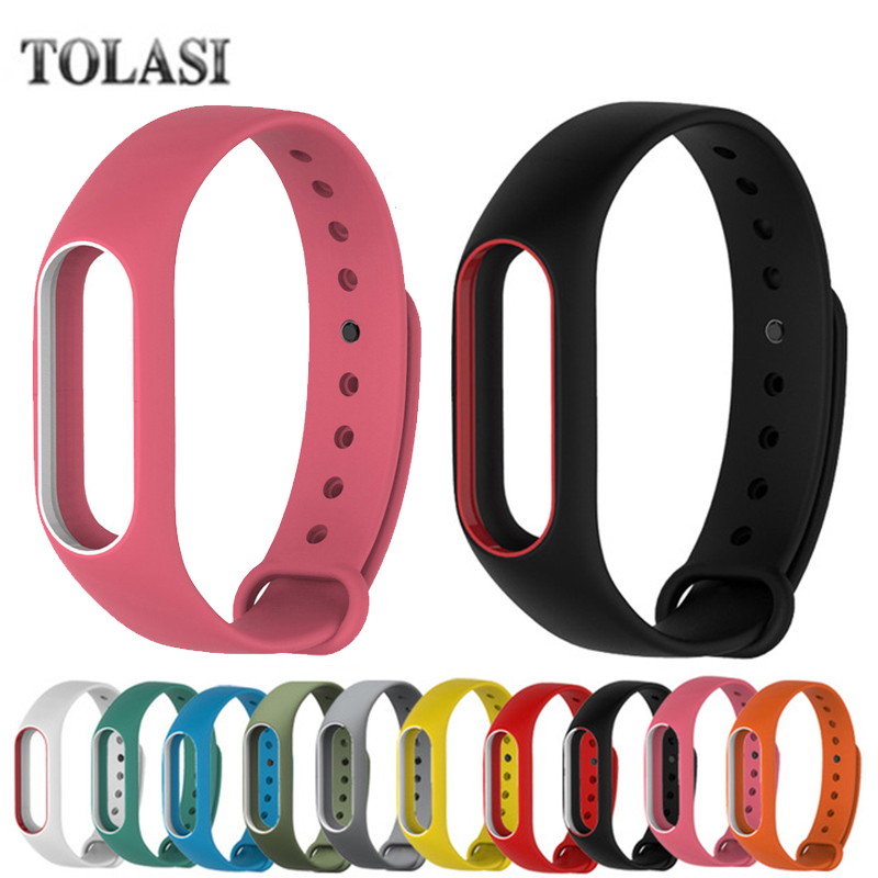 Colorful Silicone Wrist Strap Bracelet Double Color Replacement watchband for Original Miband 2 Xiaomi Mi band 2 Wristbands все цены