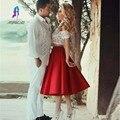 Diseño de moda Sexy Profundo Escote en v de Encaje Vestidos de Cóctel de Tafetán de Longitud de Té de Manga Corta Dos Piezas Vestidos de Baile