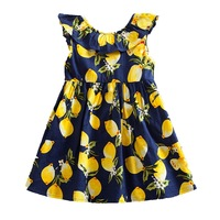 Summer Newest Design Flower Toddler Dresses Girl Clothing Cotton Baby Girls Print Sleeveless Beach Dress Princess
