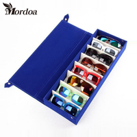 2017 New Protable 8 Slot Rectangle Glasses Eyeglass Sunglasses Storage Case Display Grid Stand Eyewear Protector Box Pouch Bag