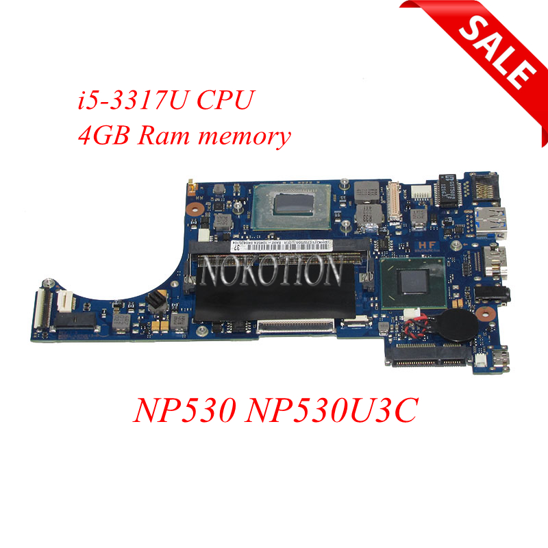 NOKOTION Laptop Motherboard For Samsung NP530 NP530U3C i5-3317U CPU 4GB Ram BA92-10452A BA92-10452B BA41-02022A BA41-02021A nokotion for samsung np305e4a 305e5a 305e7a laptop motherboard socket fs1 hd6470m ba92 08197a ba92 08197b ba41 01818a