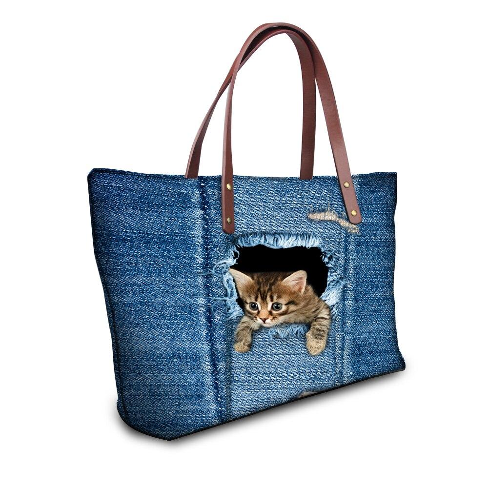 Denim chat sacs à main femmes sacs bleu Jean sac à main Top qualité femmes Messenger sacs mignon Animal chat Bolsas grands sacs de voyage